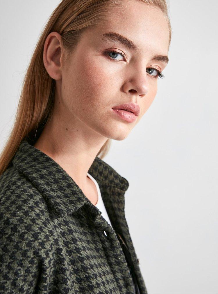 Khaki dámská vzorovaná košile Trendyol