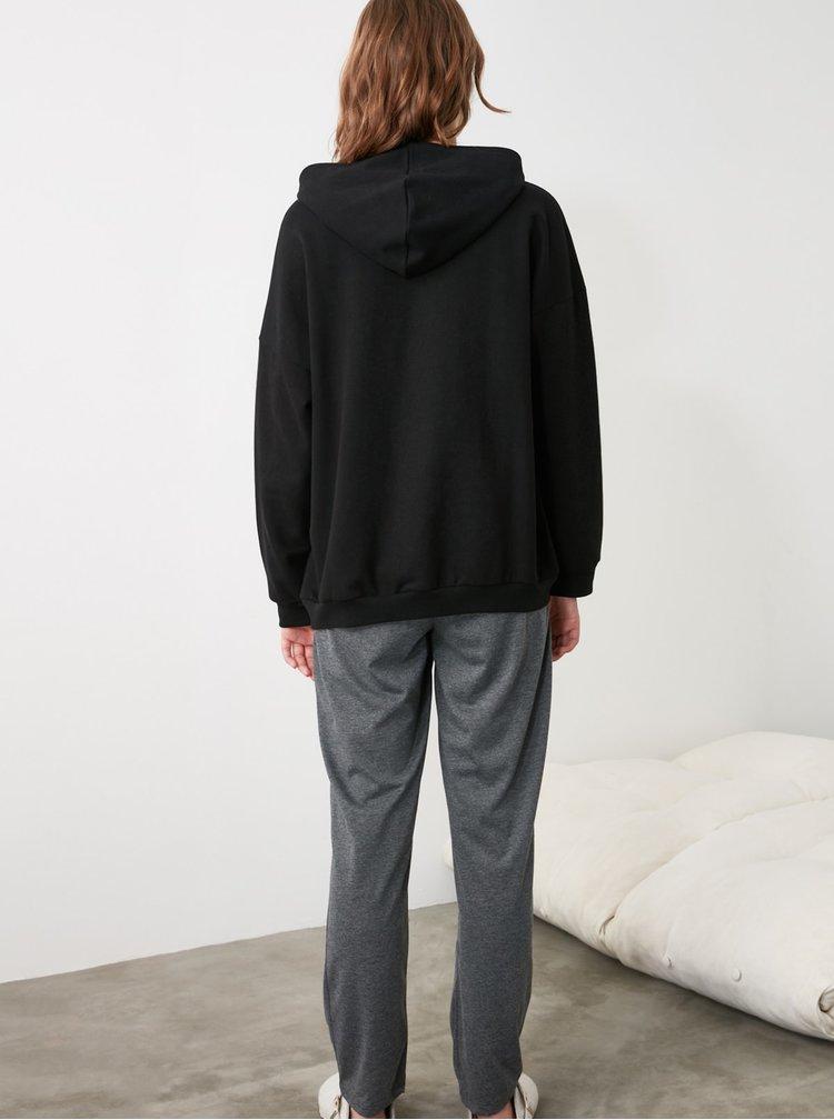 Černá dámská mikina s kapucí Trendyol