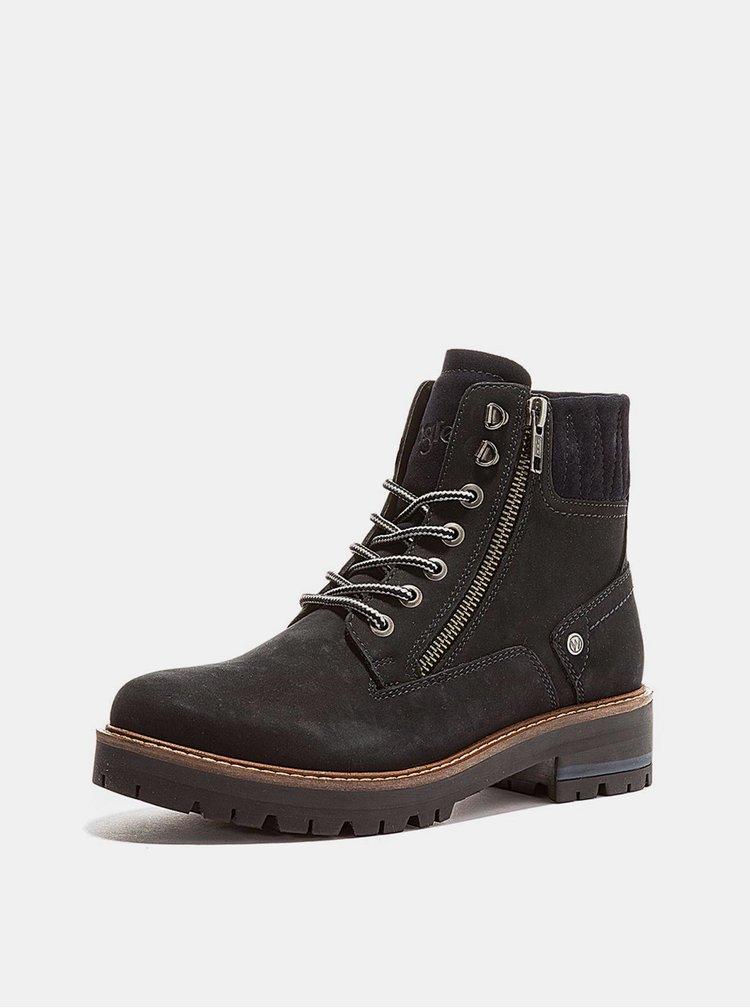 Černé dámské kožené zimní boty Wrangler