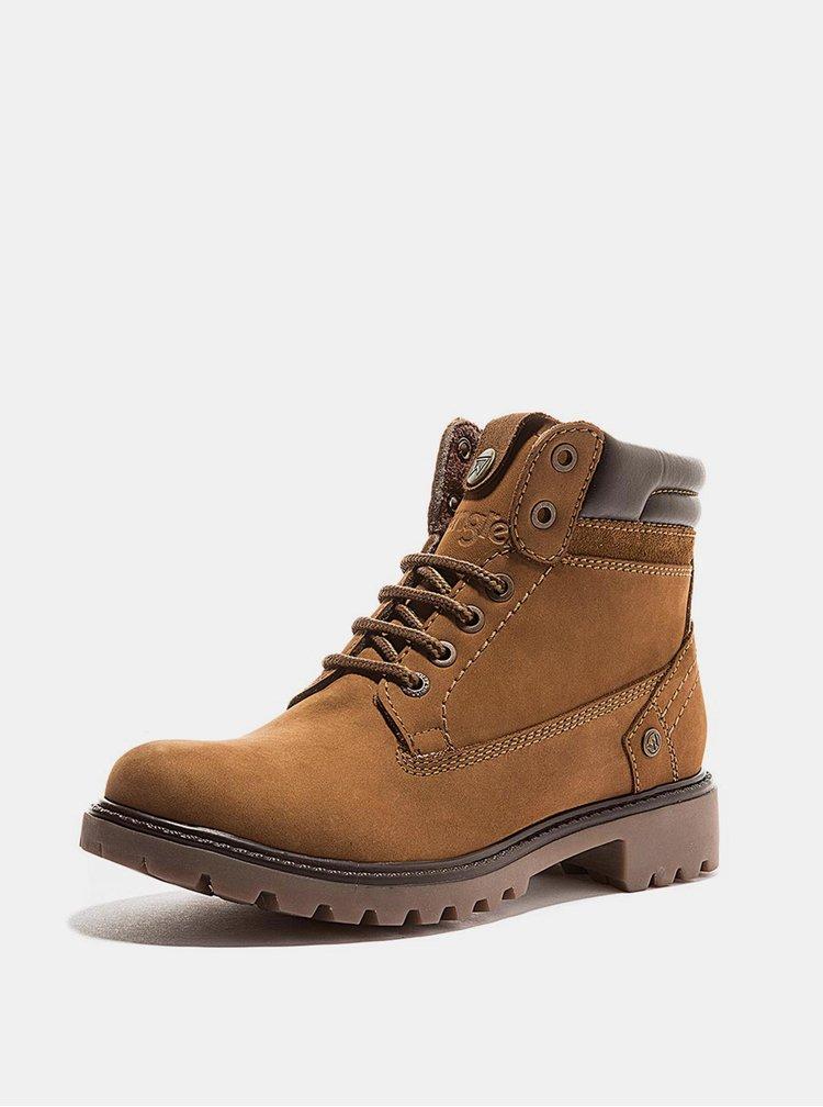 Hnědé dámské kožené zimní boty Wrangler