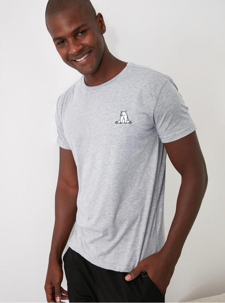 Šedé pánské tričko Trendyol