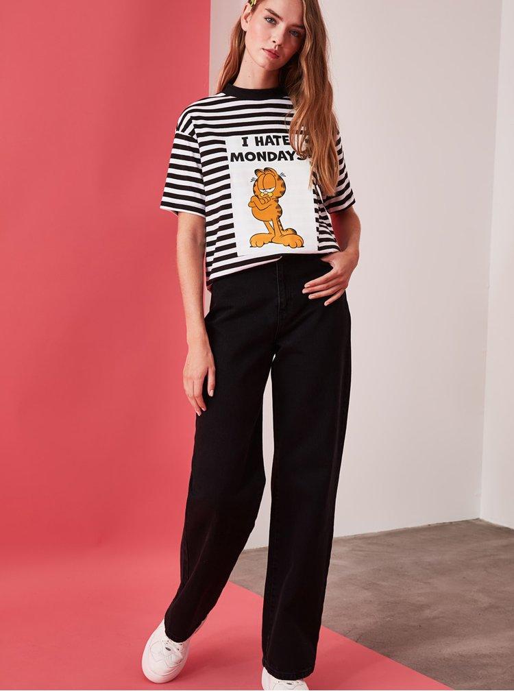 Bílo-černé dámské pruhované tričko Trendyol