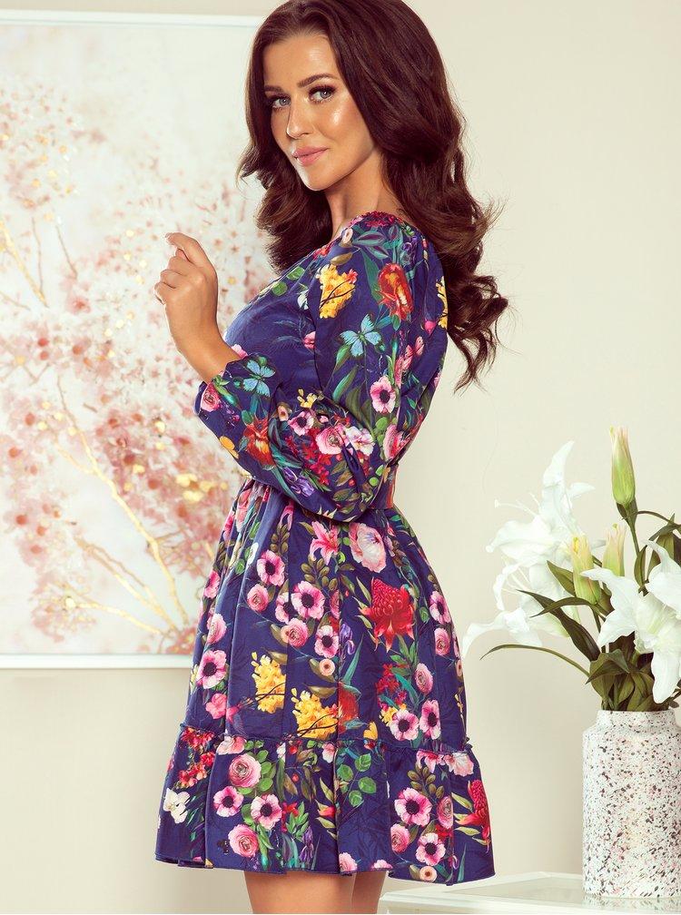 Modré květinové šaty numoco