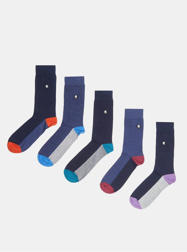 Sada pěti párů modrých ponožek Burton Menswear London