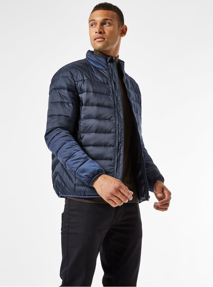 Tmavě modrá prošívaná bunda Burton Menswear London