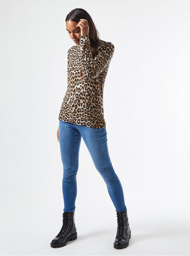Hnědé tričko s leopardím vzorem Dorothy Perkins