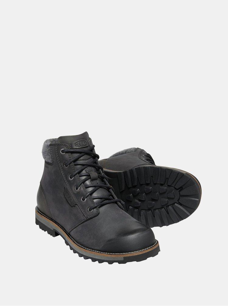 Černé pánské kožené zimní boty Keen
