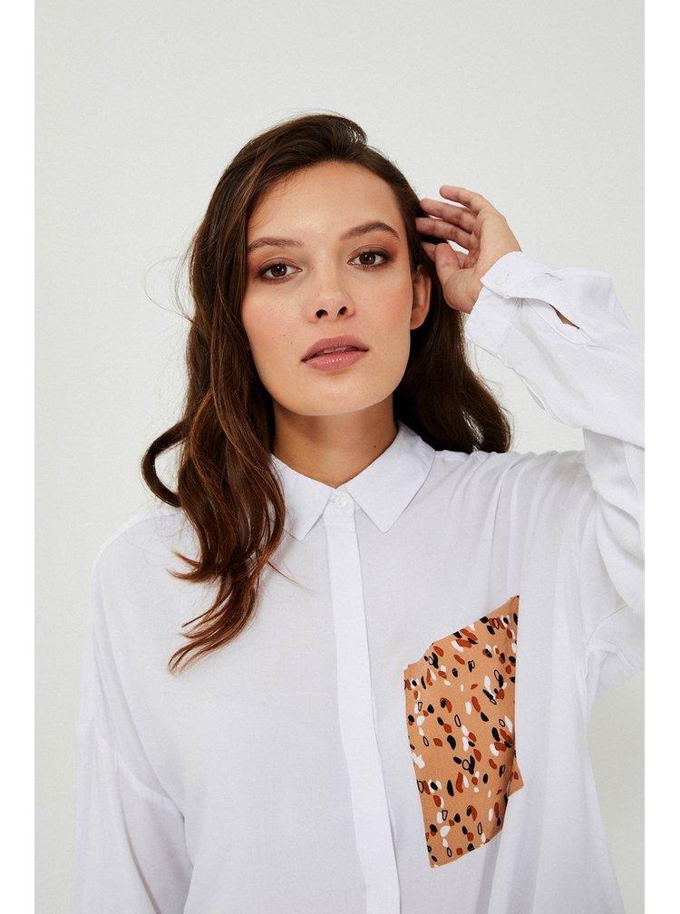 Moodo bílá košile s leopardí kapsičkou