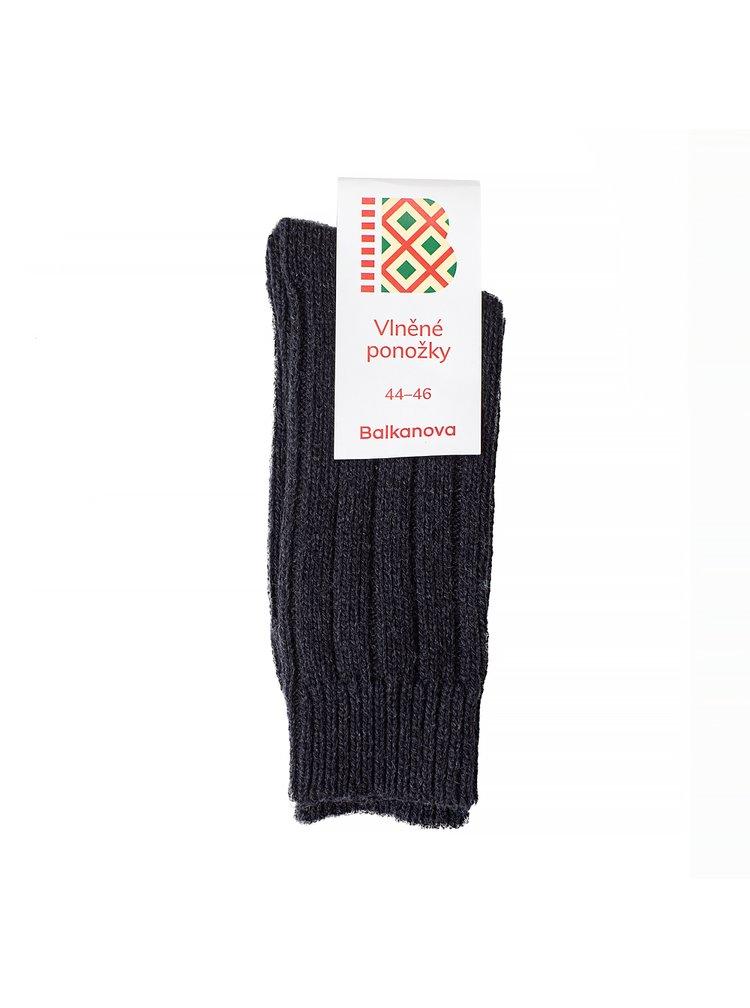 Vlněné ponožky 100% vlna, silný pružný úplet (černé)