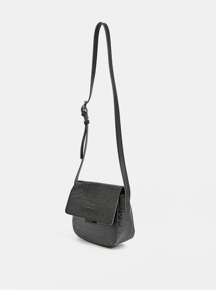 Černá crossbody kabelka s krokodýlím vzorem Claudia Canova