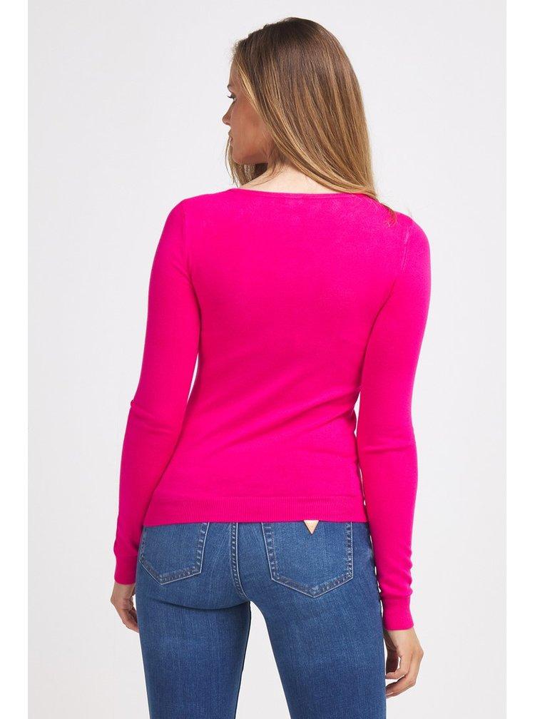 Guess růžový svetr Maglia Triangle Logo