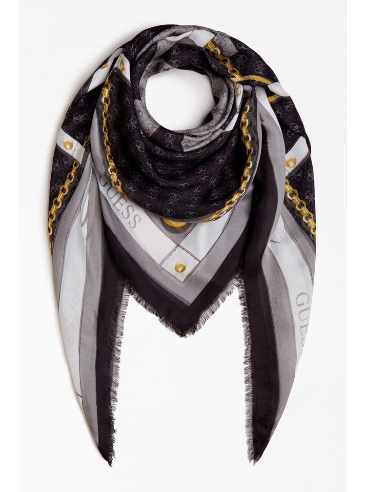 Guess černý šátek Camy 4G Logo Scarf