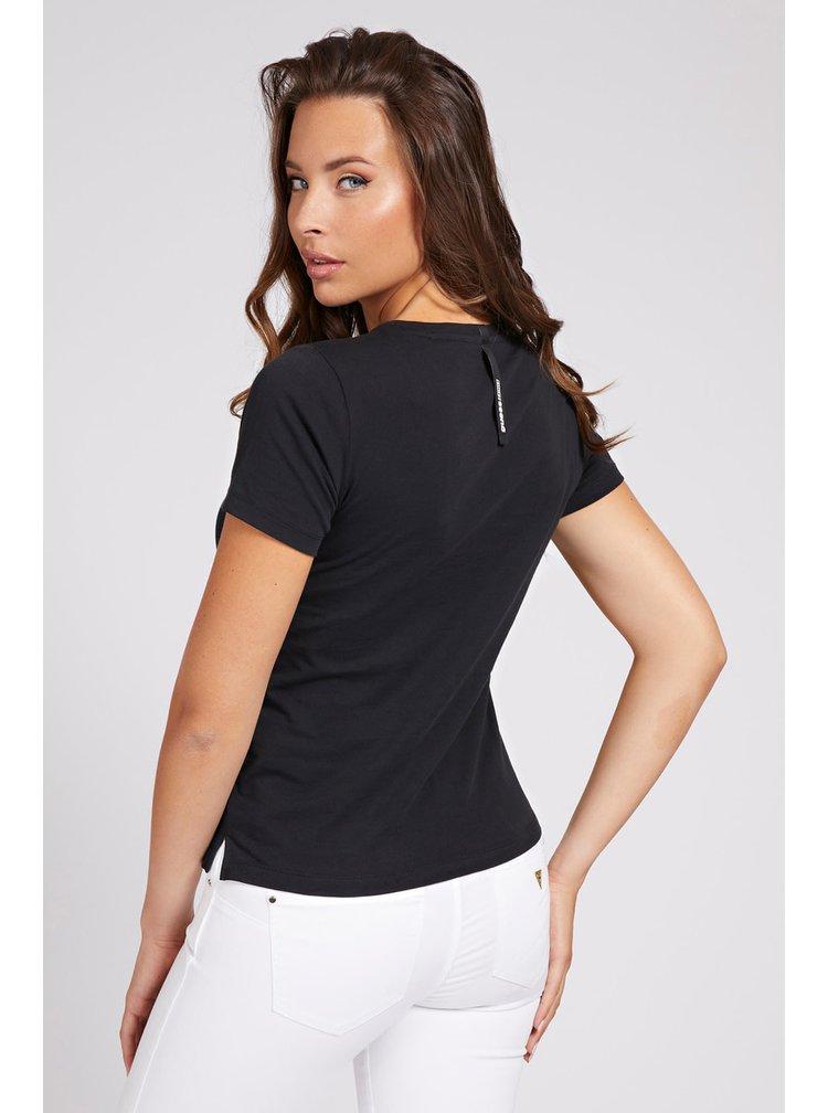 Guess černé tričko Glitter Placed s potiskem