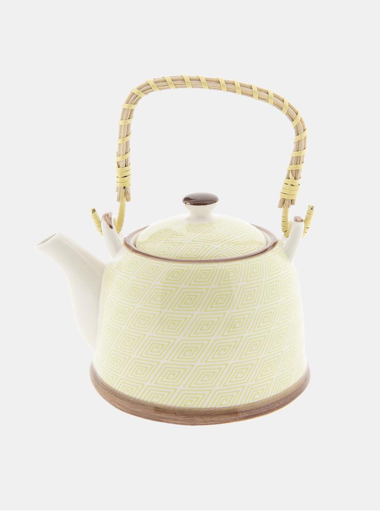 Žlutá vzorovaná konvice na čaj Clayre & Eef