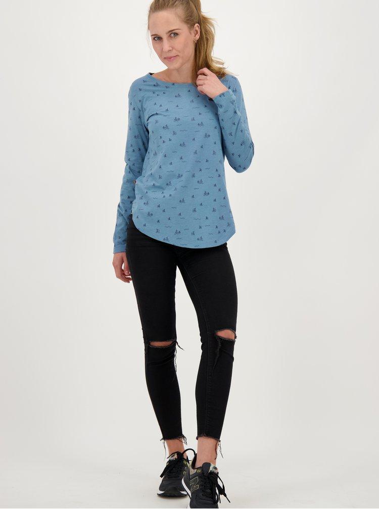 Modré dámské vzorované tričko Alife and Kickin