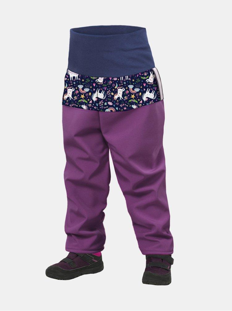 Fialové holčičí softshellové kalhoty Unuo
