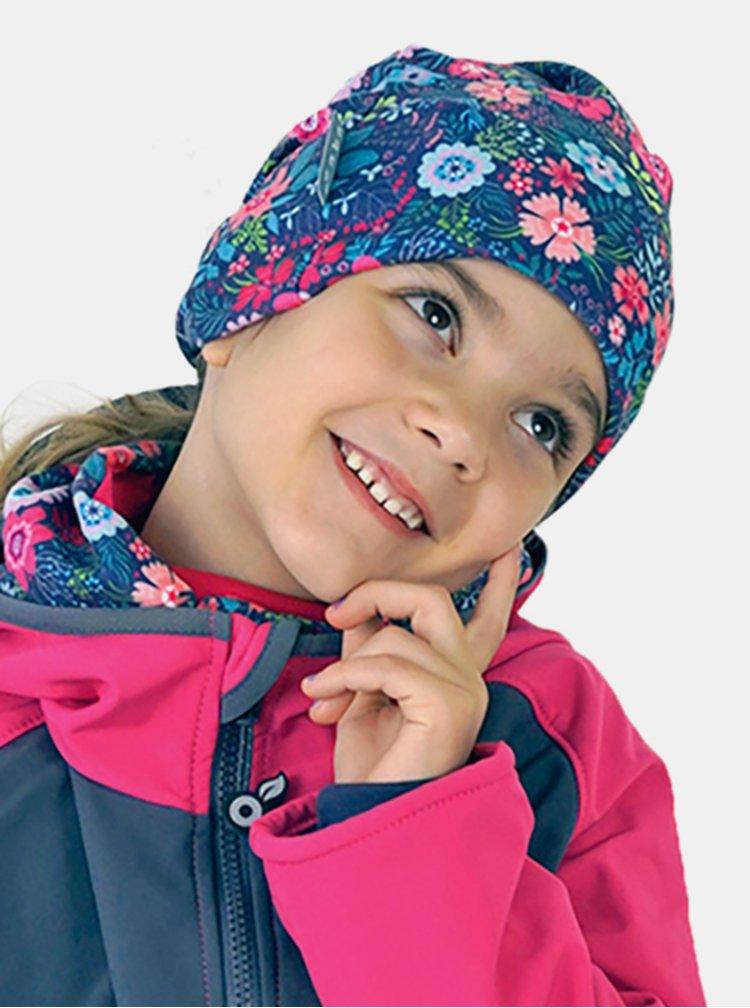 Růžovo-modrá holčičí fleecová čepice Unuo