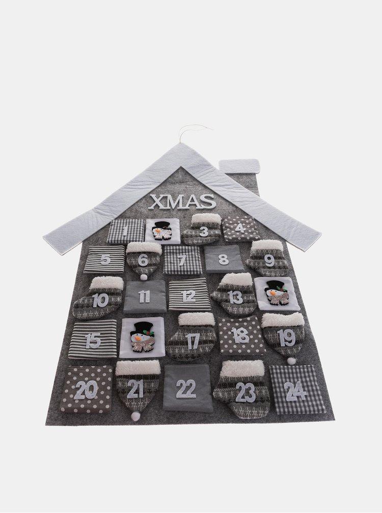 Šedý textilní adventní kalendář Dakls