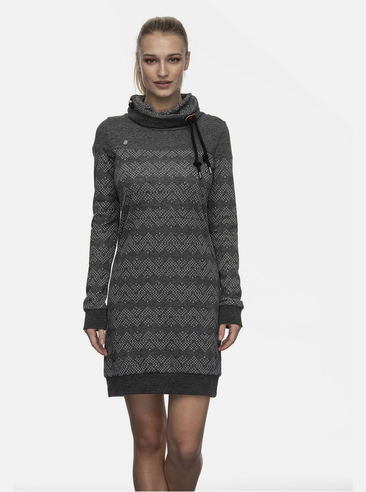 Černé vzorované mikinové šaty Ragwear