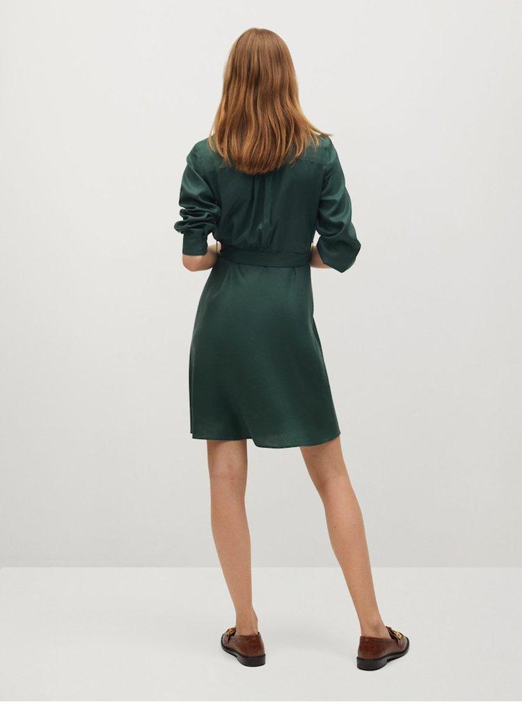 Tmavě zelené košilové šaty Mango