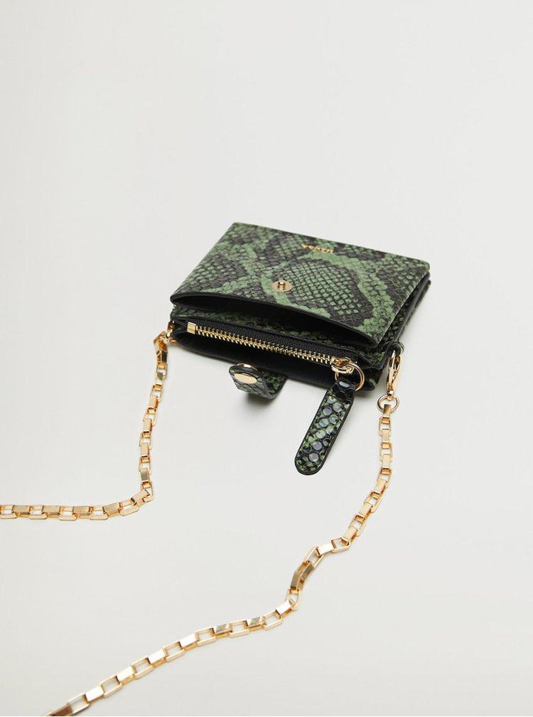 Zelená peněženka s hadím vzorem a řetízkem Mango