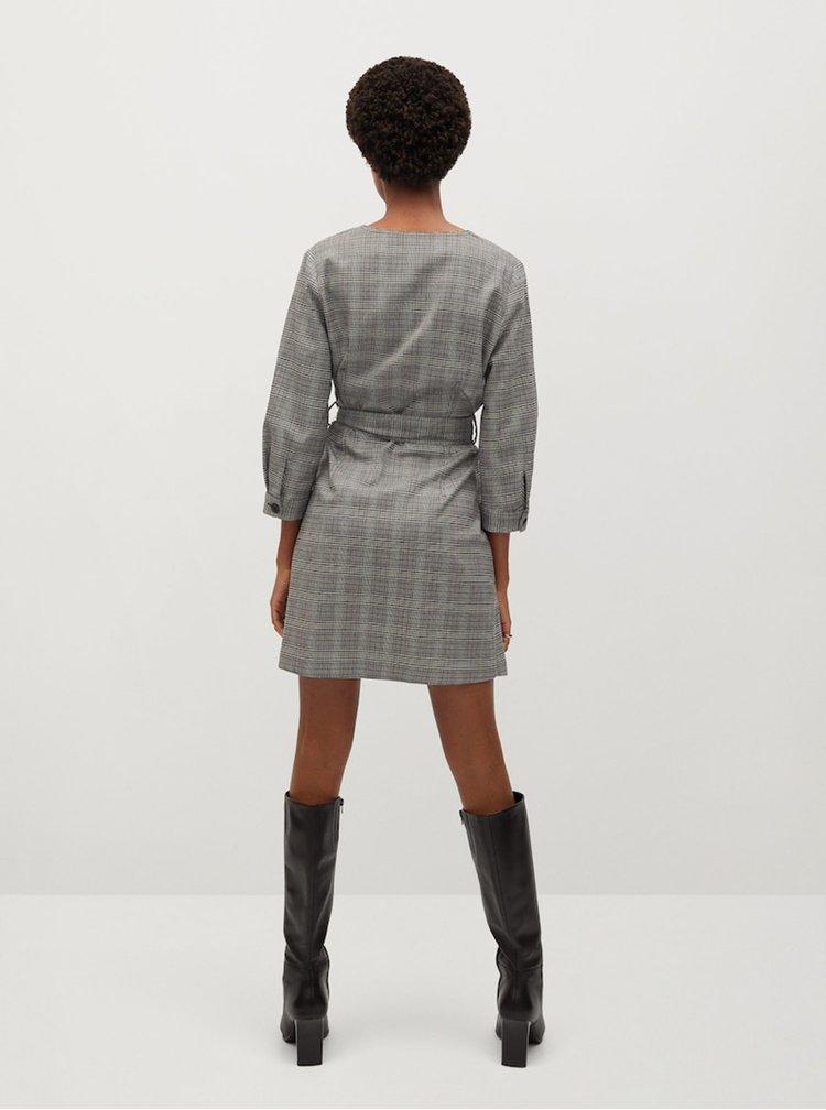 Šedé kostkované šaty Mango