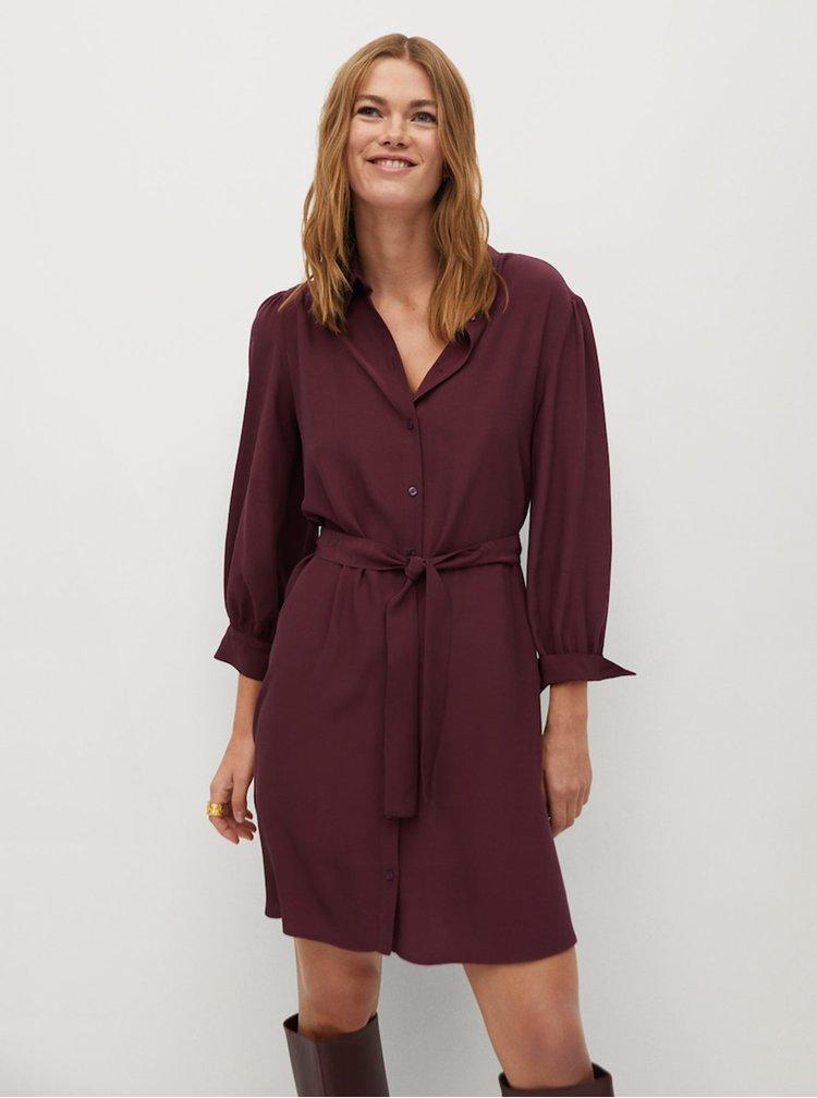 Vínové košilové šaty Mango