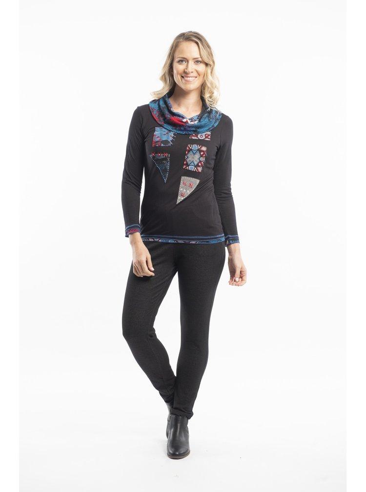 Orientique černé tričko Tunic Applique s límečkem