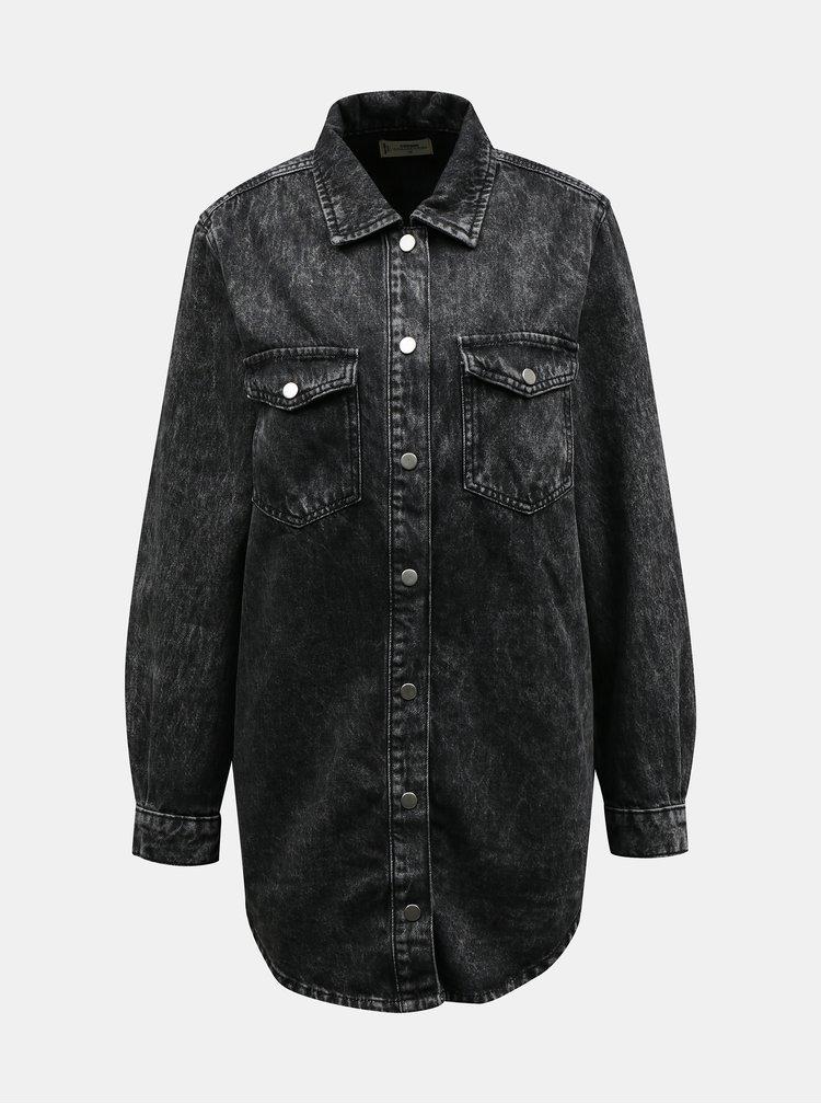 Tmavě šedá džínová dlouhá košile TALLY WEiJL