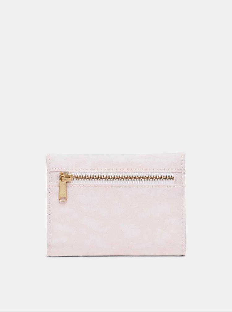 Růžová kožená peněženka Herschel Supply