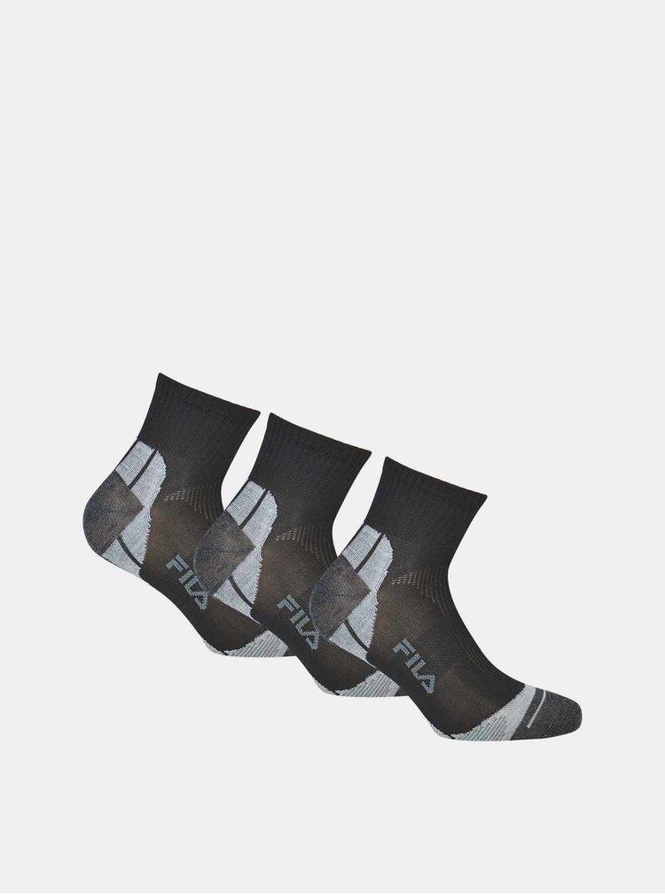 Sada tří párů černých kotníkových ponožek FILA