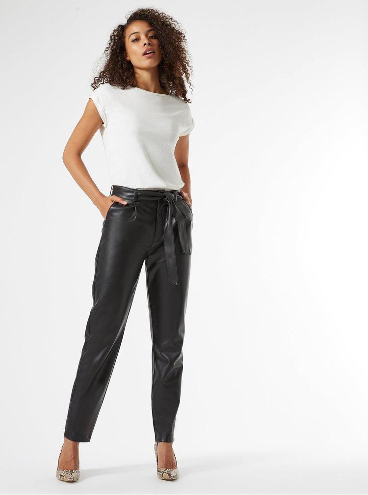 Černé koženkové kalhoty se zavazováním Dorothy Perkins Tall