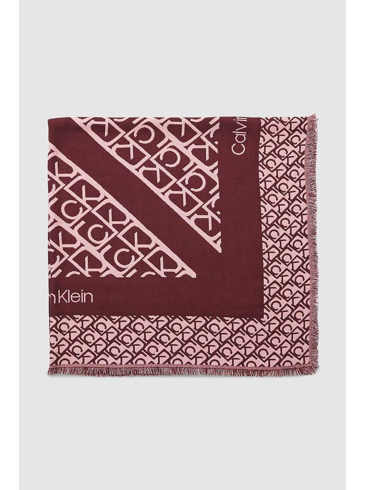 Calvin Klein vínovo-pudrová šála Scarf J