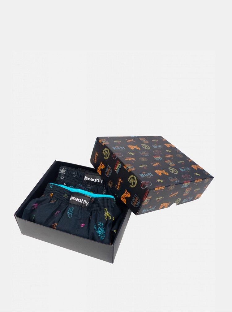 Sada dvou pánských vzorovaných trenýrek v černé barvě Meatfly Agostino