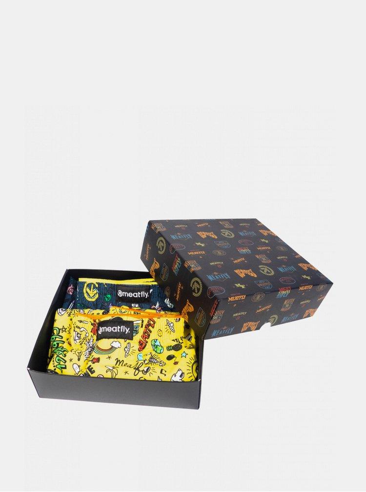 Sada dvou pánských vzorovaných trenýrek v žluté a modré barvě Meatfly Agostino
