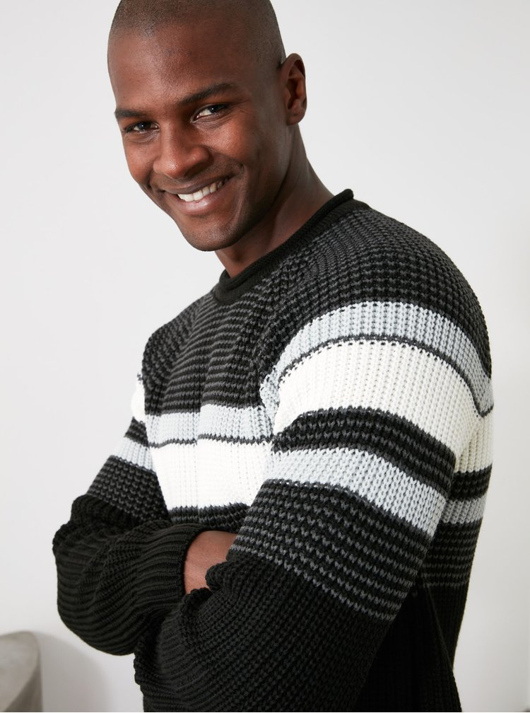 Pulovere pentru barbati Trendyol - negru, gri