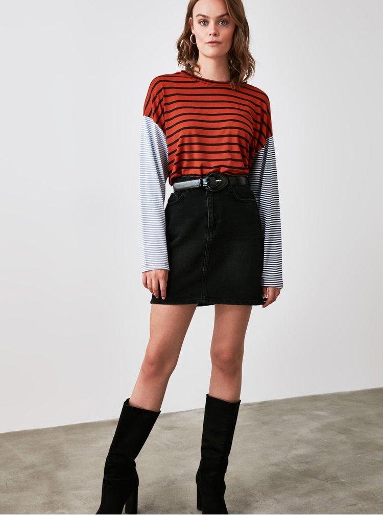 Cihlové pruhované tričko Trendyol