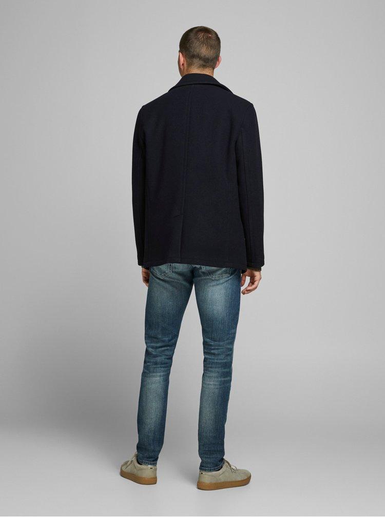 Tmavě modrý vlněný krátký kabát Jack & Jones