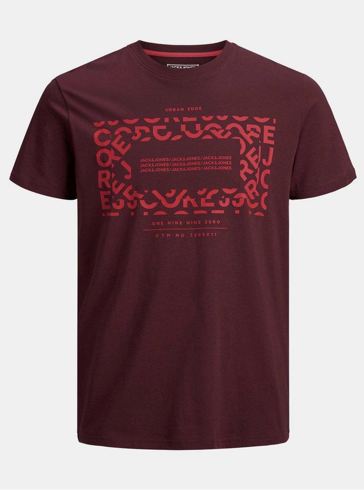 Vínové tričko s potiskem Jack & Jones