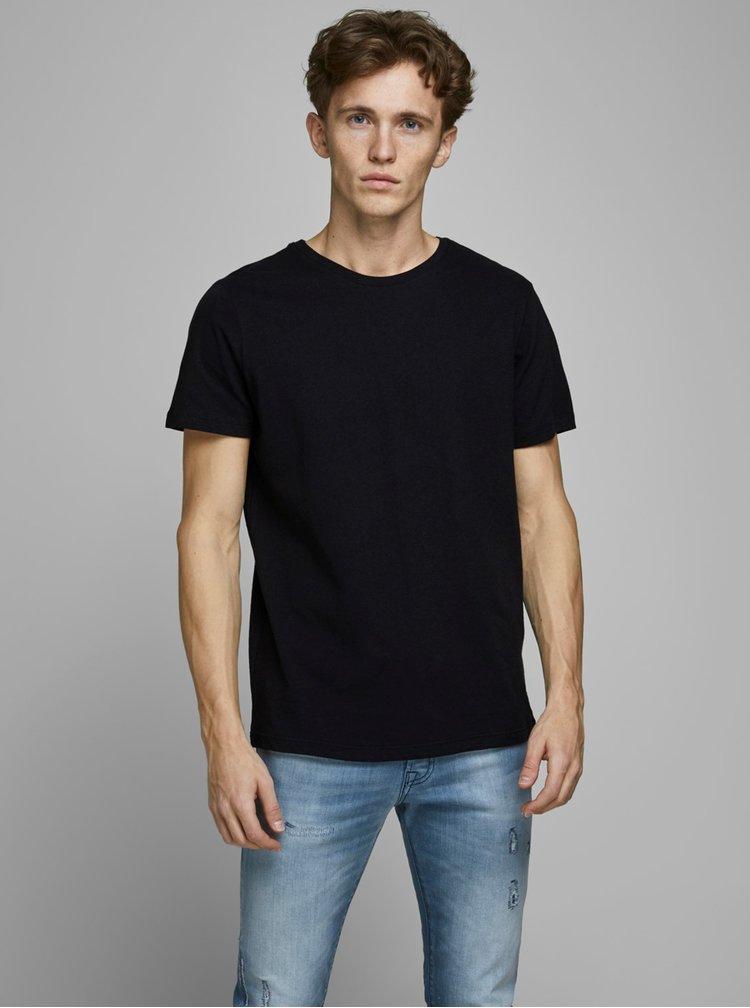 Černé tričko s příměsí lnu Jack & Jones