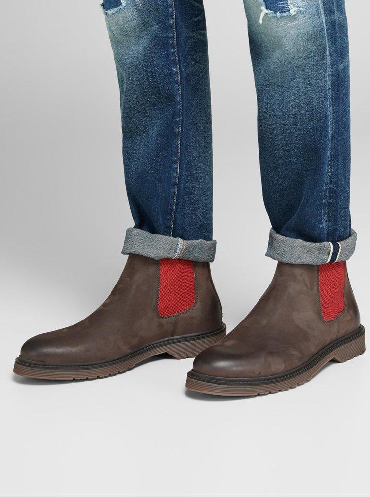 Hnědé kožené pánské chelsea boty Jack & Jones