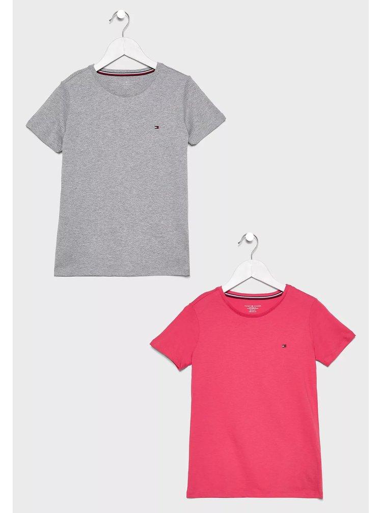 Tommy Hilfiger šedo-růžový 2pack triček Radiant Carmine/Gray Heather