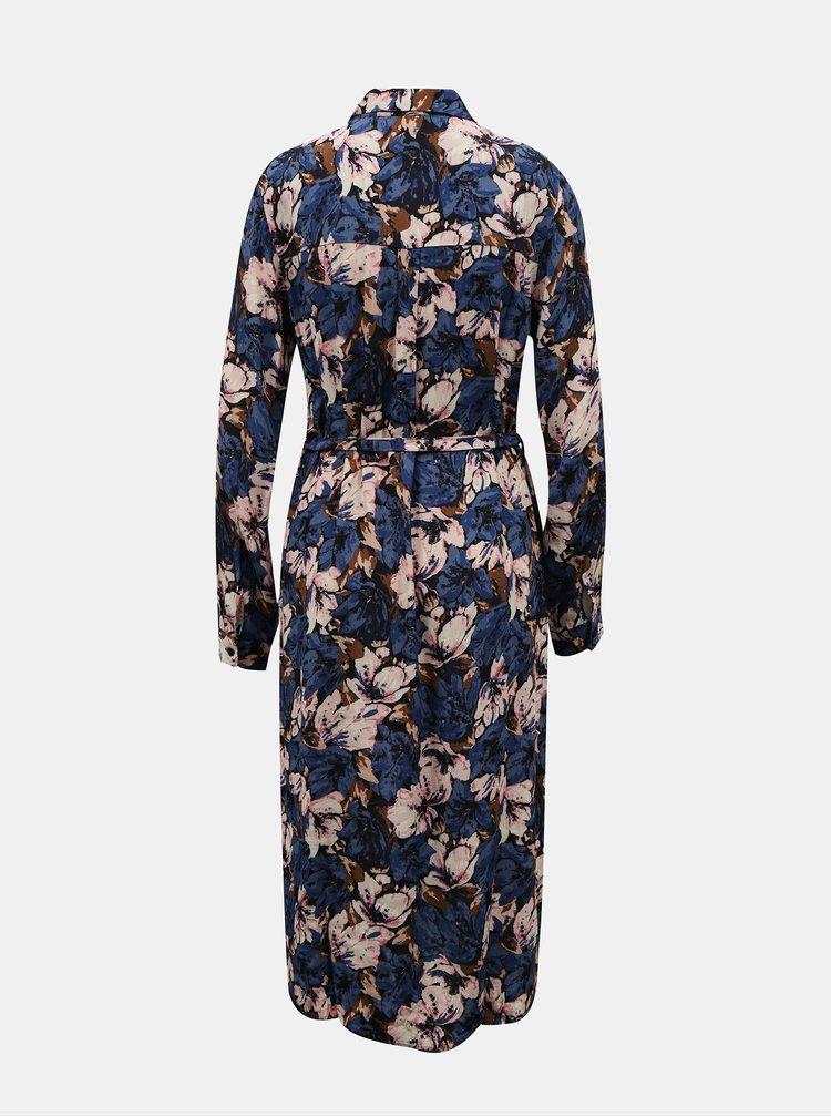 Modré květované košilové midišaty VERO MODA