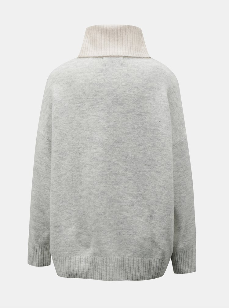 Krémový svetr s rolákem Mango