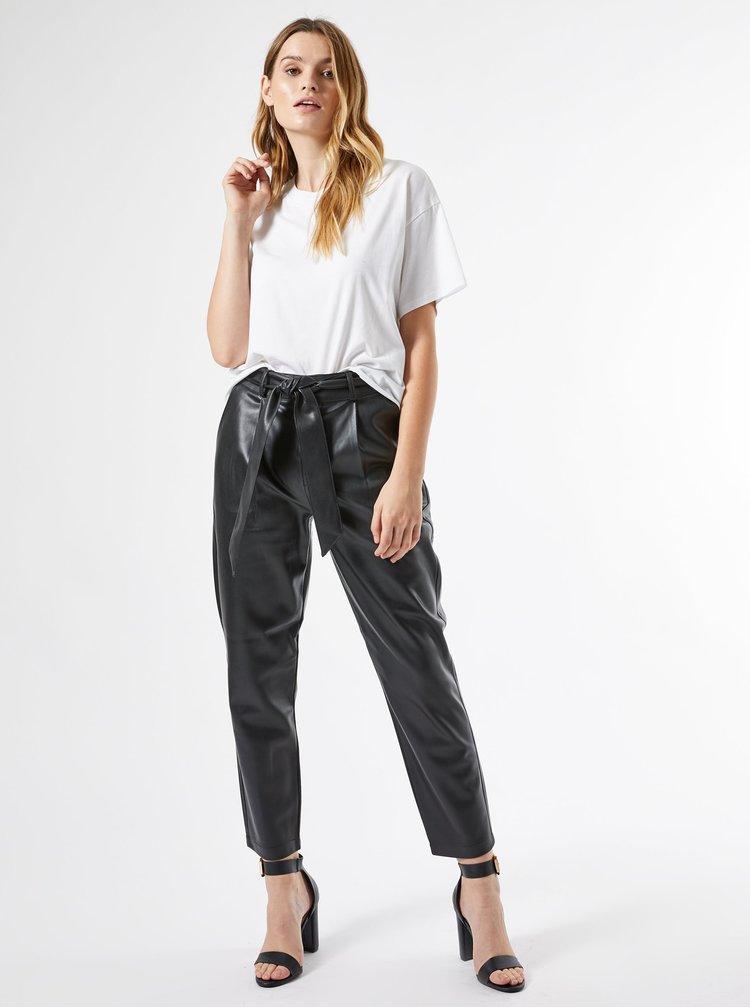 Černé zkrácené koženkové kalhoty Dorothy Perkins