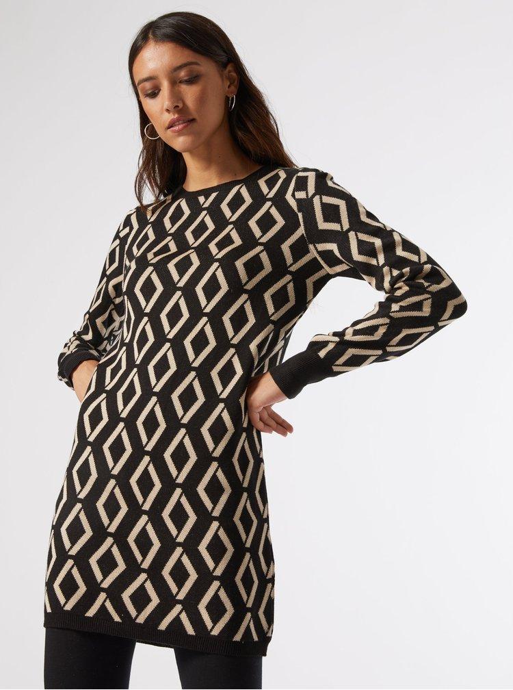 Černé vzorované svetrové šaty Dorothy Perkins