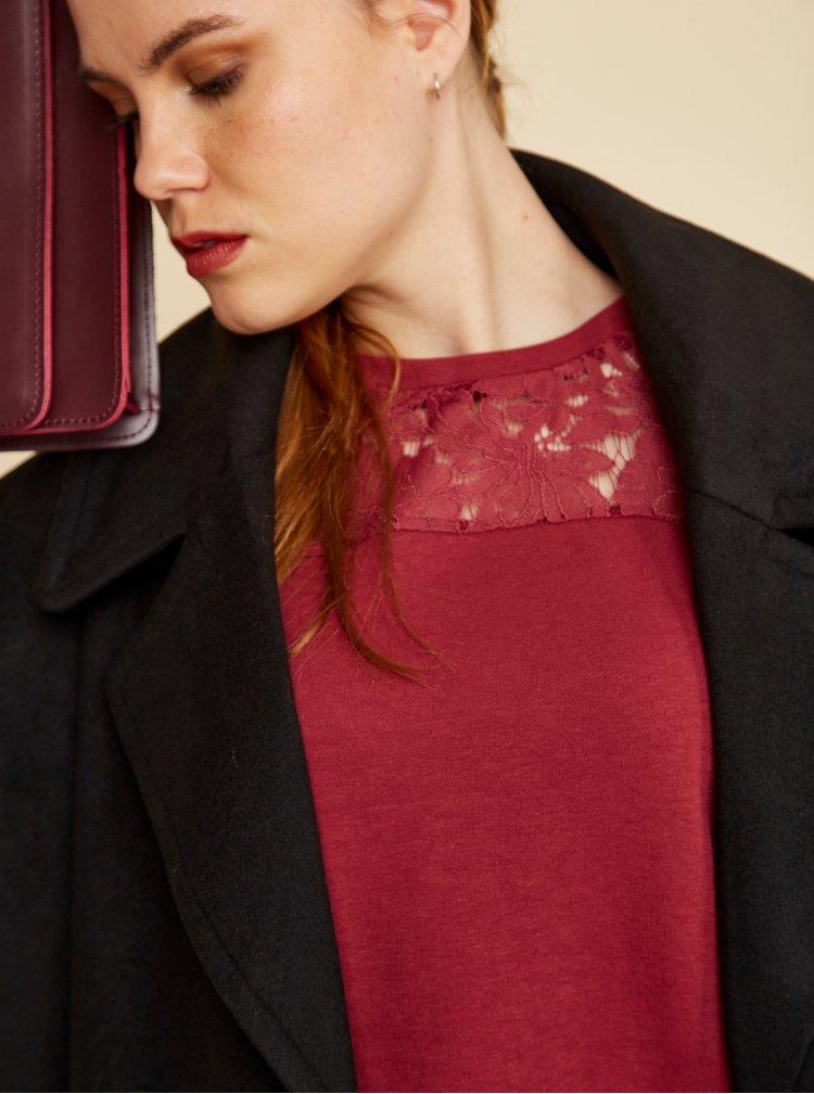 Vínová dámská mikina s krajkovým sedlem ZOOT Antonie
