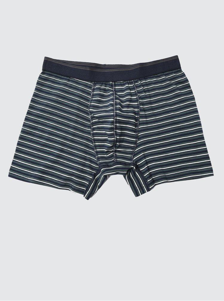 Sada tří pruhovaných boxerek v modré a šedé barvě Trendyol