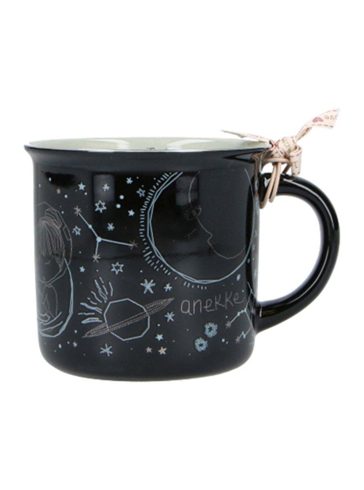Anekke černý hrnek Universe Spirit z porcelánu