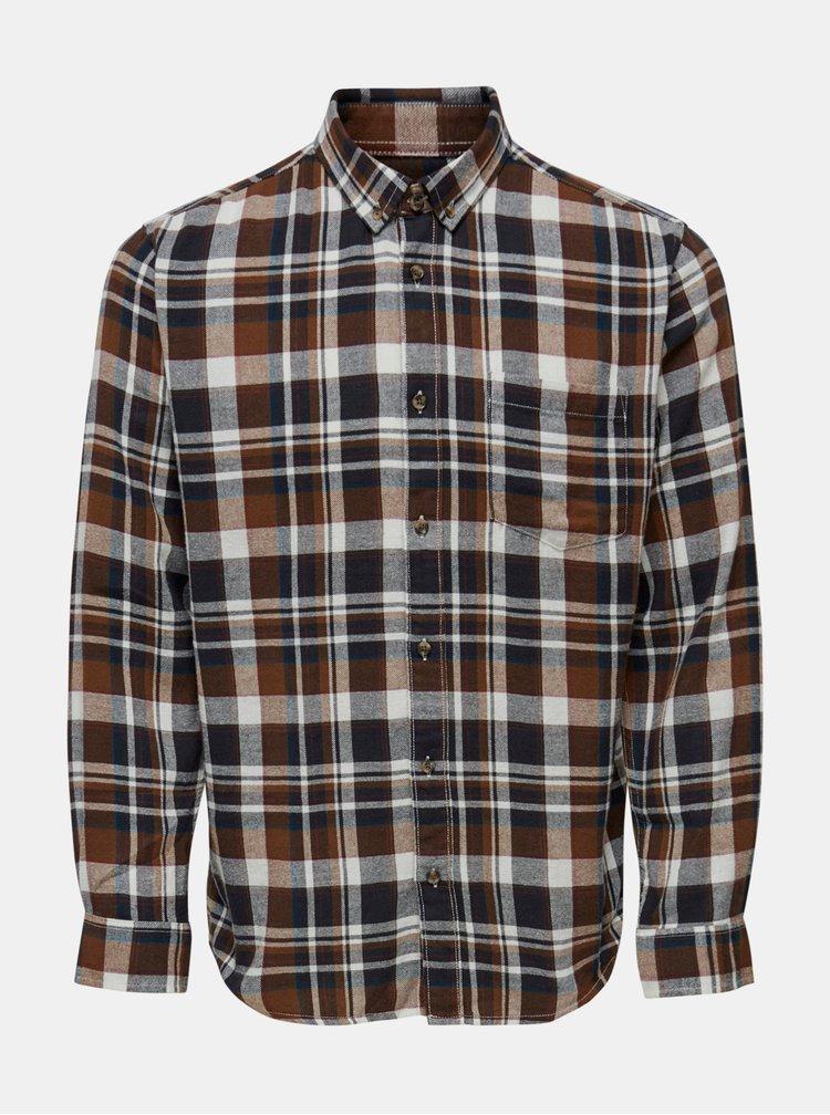 Hnědá kostkovaná flanelová košile ONLY & SONS Simon